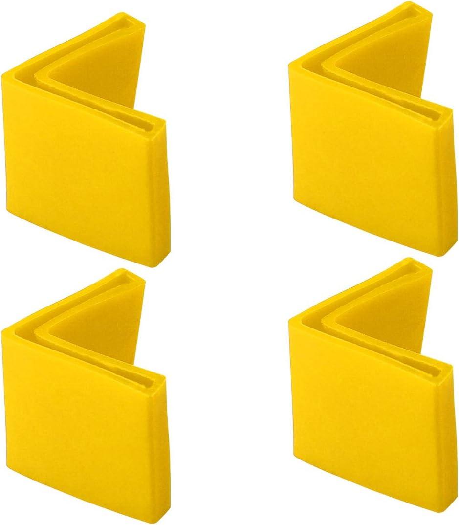 sourcing map 25mmx25mm Angle Fer Patin L Forme PVC Jambe Cap Plancher Protect Noir 4 Pcs