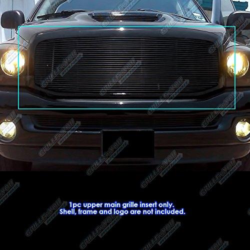 APS Compatible with 2006-2008 Dodge Ram 1500 2500 3500 Black Billet Grille Grill Insert N19-H81358D