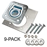 Farm Tough Tools D-Ring Recessed 6,000 lb. Tie Down and Backing Plate w/2-1/2 Hardware 9-pack