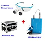 Zinnor 2.5x420mm Dental Surgical Medical Binocular Loupes + LED Head Light Lamp(Blue) + Aluminum Box(Black)