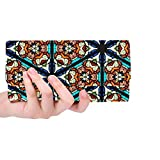 Unique Custom Church Window Stained Glass Texture Glass Pattern Women Trifold Wallet Long Purse Credit Card Holder Case Handbag