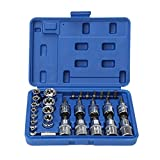 OCGIG 30 Pcs External Male Female Torx Star Socket Bit Set E & T Sockets with Tamper Proof Torx Bits