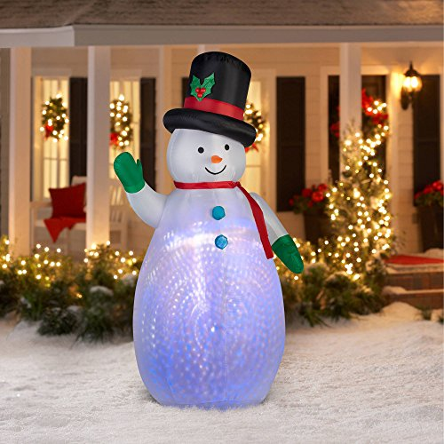 - 7.5' Projection Swirl Snowman Outdoor Inflatable Airblown Yard Art