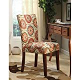 Printed Parsons Chair, Set of 2, Multi-Color Suzani Mid-tone brown For Sale