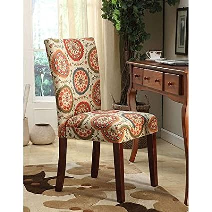 Printed Parsons Chair, Set Of 2, Multi Color Suzani Mid Tone Brown