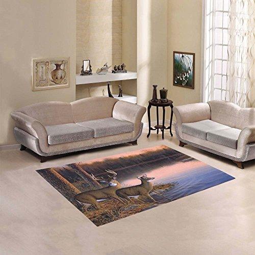Custom River Edge Deers Area Rug Cover Indoor/Outdoor Decorative Floor Rug (River Edge Rug)