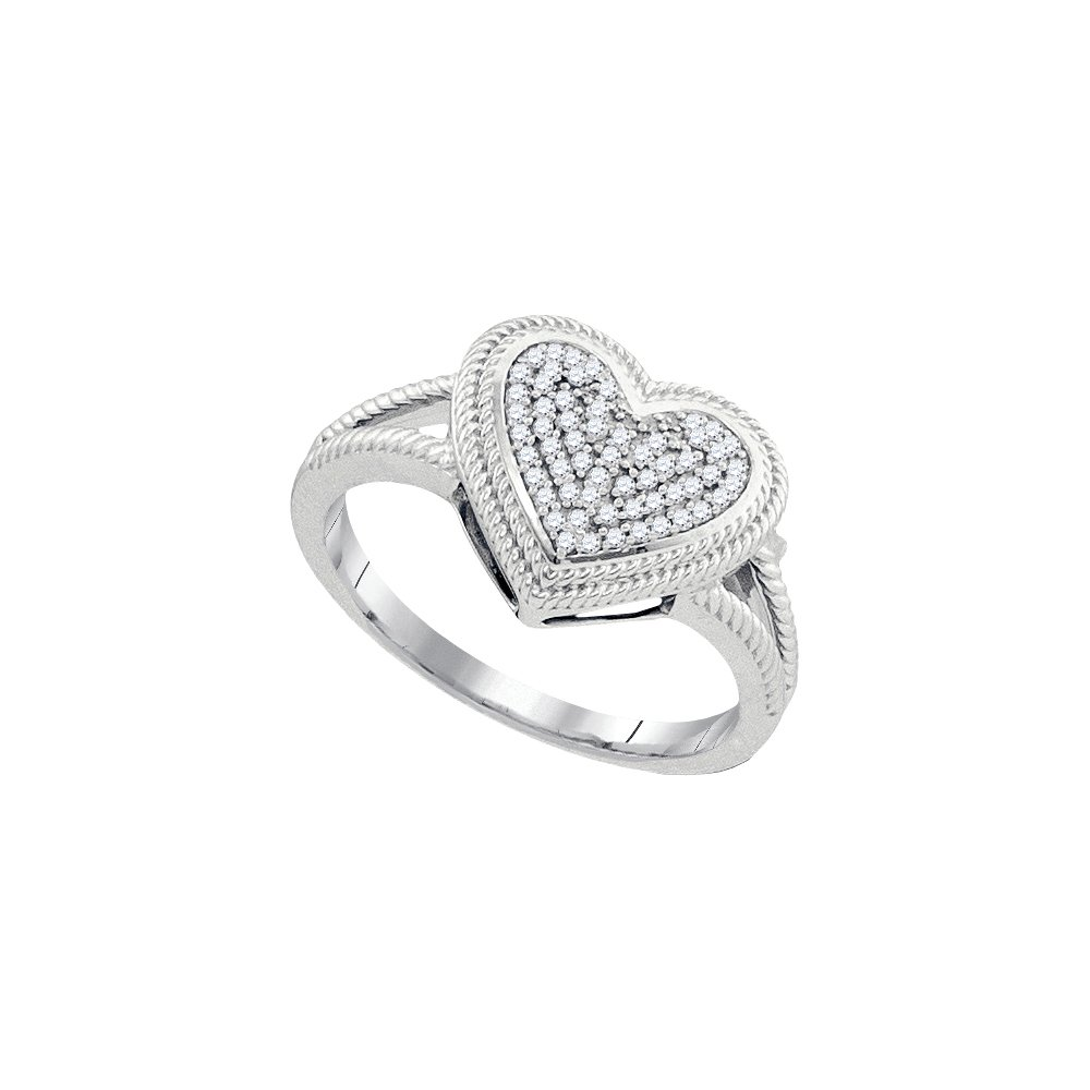 10kt White Gold Womens Round Diamond Rope Heart Love Cluster Ring 1/6 Cttw (I2-I3 clarity; J-K color) by Jewels By Lux (Image #1)