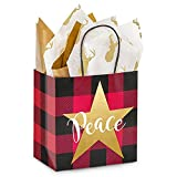 Buffalo Plaid Christmas Paper Shopping Bags - Junior Size - 8in. X 5in. X 8in. - 200 Pieces