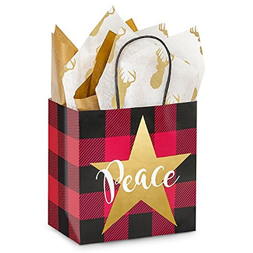 Buffalo Plaid Christmas Paper Shopping Bags - Junior Size - 8in. X 5in. X 8in. - 200 Pieces by NW
