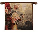 Home Furnishings, Kiosk and Flowers, French Tapestry Wall Hanging, Wall Art Decor, 28 by 28 Inch