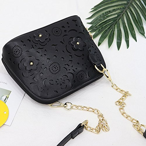 Shoulder Handbag Hollow Carving Bag Chain Patterns Black Women Bag Clutch Crossbody Out Flower Girls 65w78qU