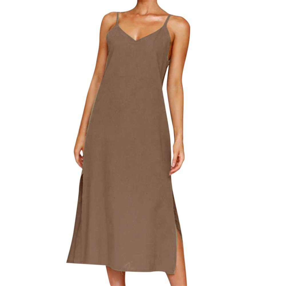 BAOHOKE Summer Women's Sling V Neck Sexy Halter Split Midi Dress,Button Simple Sleeveless Loose Sundress(Coffee,M)