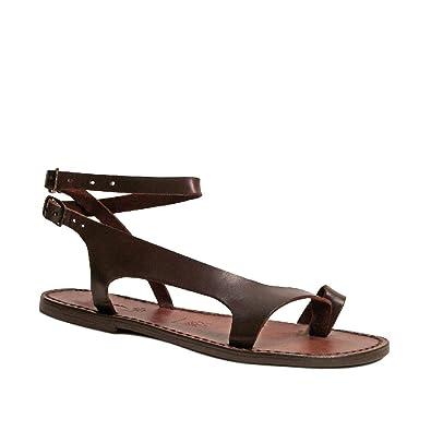 5f8bb88d262eab Gianluca - Handmade Women s Dark Brown Leather Manmade Flat Sandals Sandals  - Size  10 US