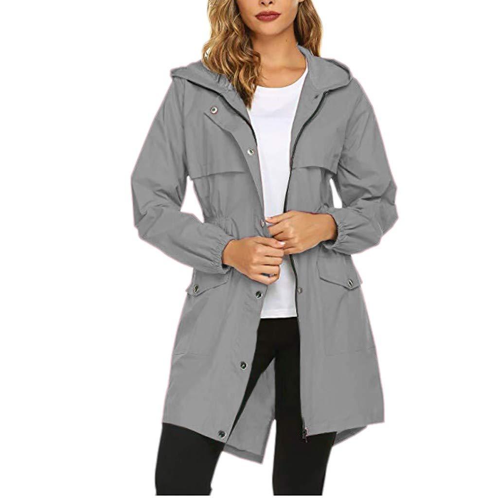 Women's Raincoats Windbreaker Rain Jacket Waterproof Hooded Outdoor Trench Coats Gray by Dunacifa Women Outwear