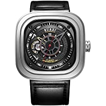 BUREI Men's Auto Self Winding Automatic Watch Black Square Face with Sapphire Crystal Glass and Leather Strap