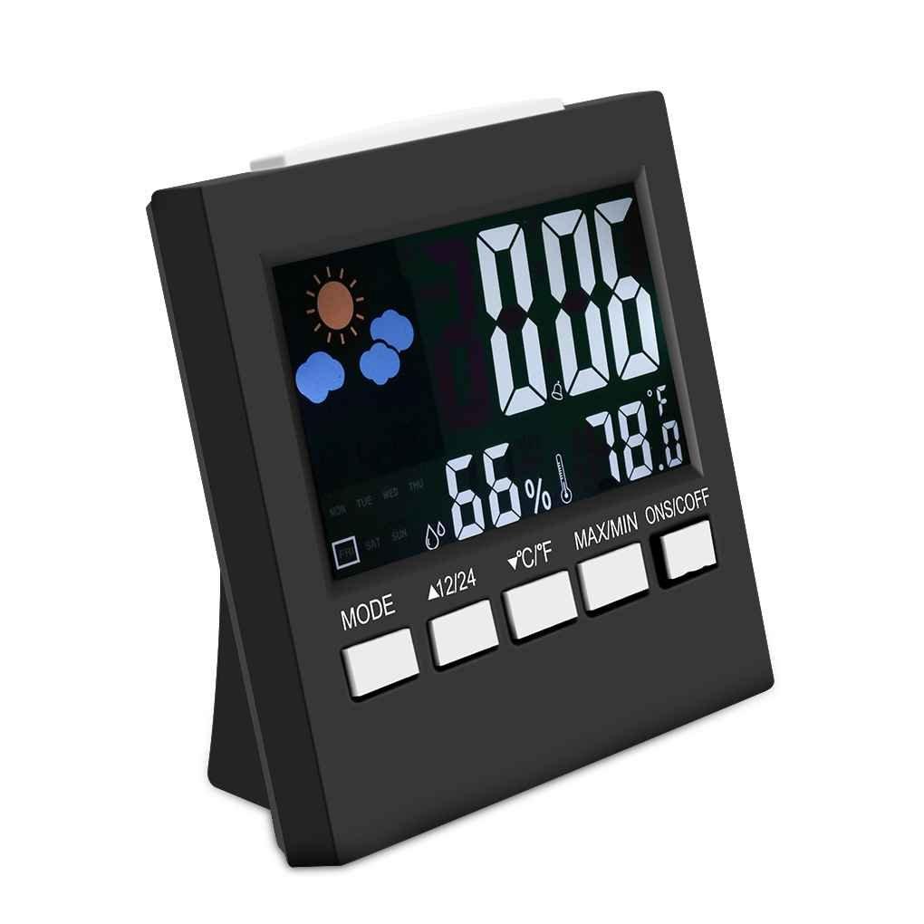 coconut Multifonction numérique LCD coloré thermomètre hygromètre horloge Fonction Snooze Alarme Calendrier Prévisions