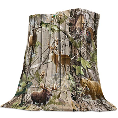 Luxury Flannel Digital Printing Throw Blanket Forest Animal Deer Bear Travel Camping Blankets All Season for Couch or Bed - Bear Travel Blanket
