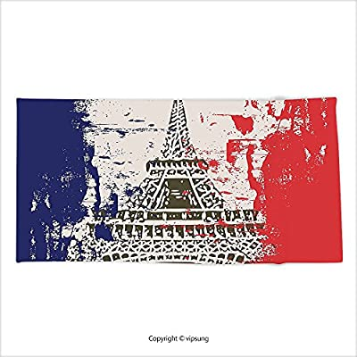 Vipsung Microfiber Ultra Soft Hand Towel Paris Decor Collection Grunge Style French Flag With Eiffel Tower City Of Love In Retro Colors Europe Red Blue Beige For Hotel Spa Beach Pool Bath