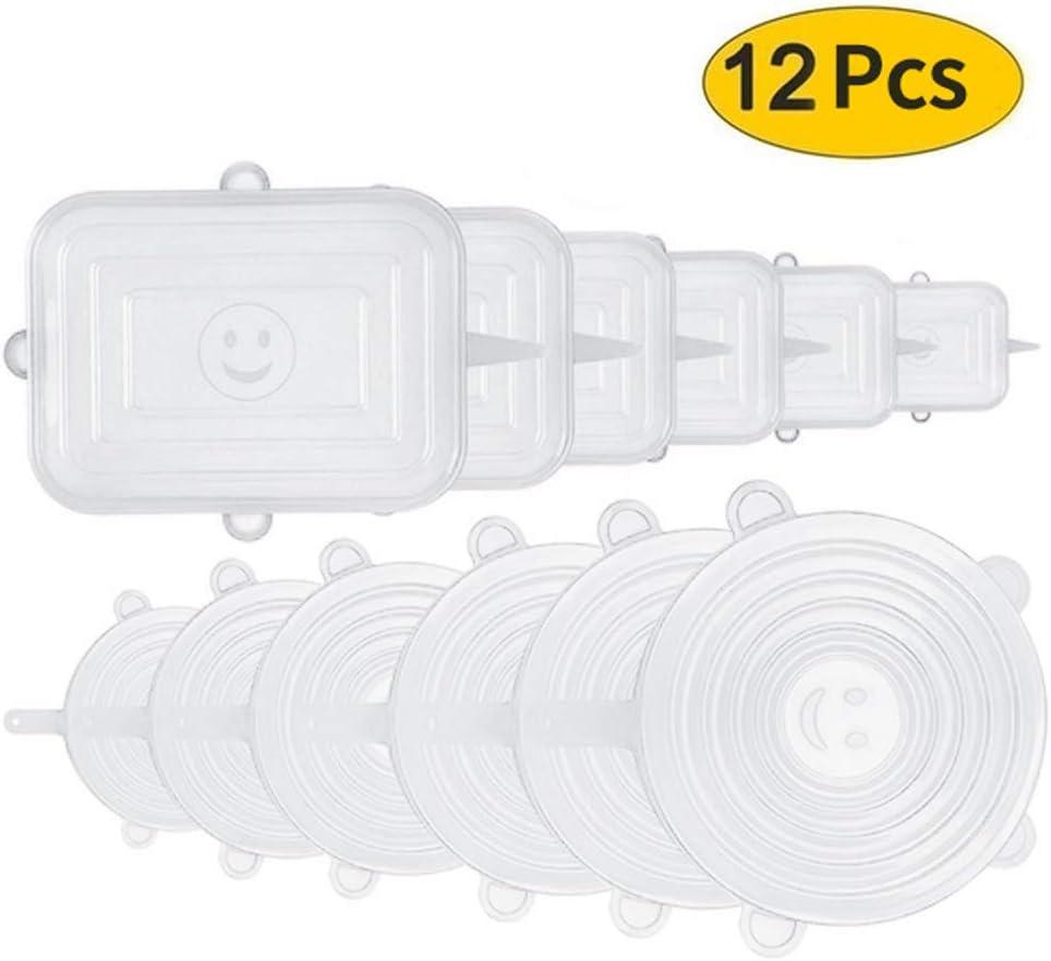 Aptos para microondas latas TOPmountain Tapa el/ástica de Silicona Tazas 12 Piezas Tapas Redondas y rectangulares de Cocina Cubiertas de Sellado de Alimentos Reutilizables para tazones