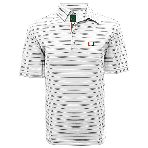 - Levelwear LEY9R NCAA Miami Hurricanes Men's Deion Banner Stripe Polo, X-Large, White/Black