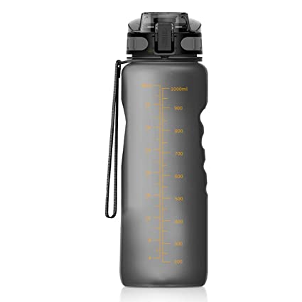 Number-One Sports Water Bottle 36oz/1000ml Leakproof Motivational Water Bottle Fruit Infuser, BPA Free with Filter & Lock Lid Drink Bottles for ...