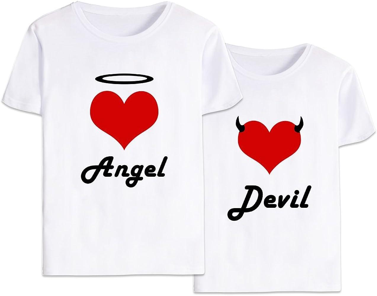 Mejores Amigas Camiseta Algodón Best Friend Shirt Impresión 2 Piezas Angel Devil T-Shirt Manga Corta Graphic Tumblr Print Verano para Mujeres Moda Casual(Blanco+Blanco,Angel-XL+Devil-XL): Amazon.es: Ropa y accesorios