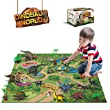 Dinosaur Toys - 12 Pcs Dinosaur Figures, Activity Play Mat & Trees for Creating a Dino World Including T-Rex,...