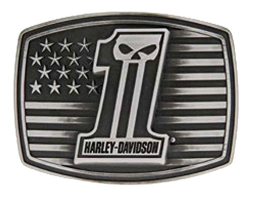 [Harley-Davidson Men's #1 Skull American Flag Antique Belt Buckle, HDMBU10855] (Harley Belt Buckles)