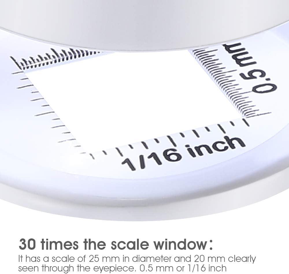 30X Leinen Tester Lupe mit LED und UV-Licht Vollmetall wei/ß Lupe mit Skala zum N/ähen Textil Kartenlesung inklusive Lederetui