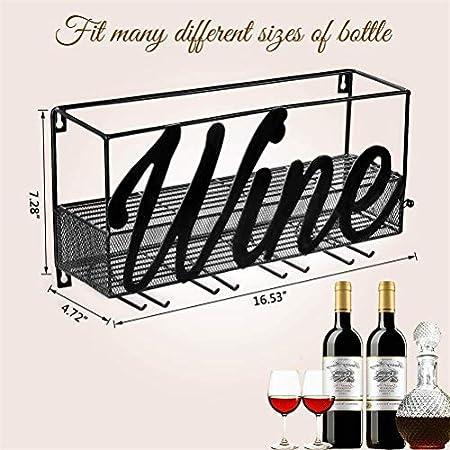 Tinyuet Botellero de Montaje en Pared | Estante para Botellas de Vino | Tienda de Almacenamiento de Vino Tinto, Champagne, Bebida | Decoración para hogar y Cocina-Wine