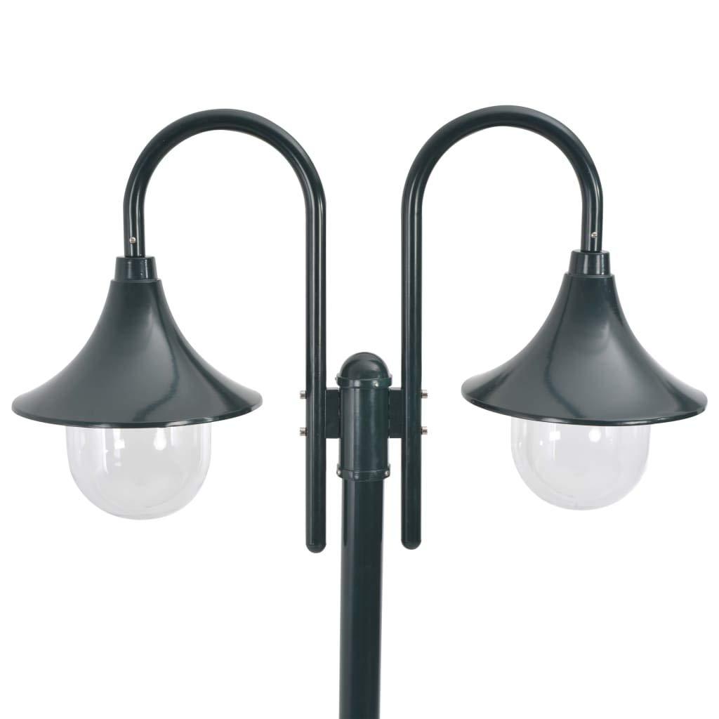 vidaXL Farolas Jard/ín Aluminio 2 Luces Verde Oscuro 220 cm Iluminaci/ón Patio