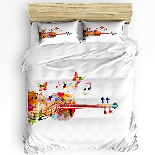3 Piece Bedding Set Twin, Watercolor Butterfly Cello Duvet Cover Set for Girls Boys Children Adult, Ultra Soft and Easy Care Sheet Quilt Sets with Decorative Pillow - Butterfly Cello