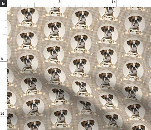 Spoonflower Boxer Dog Breed Fabric - Brown Gray Plaid Pet Puppy Animal Portrait Print on Fabric by The Yard - Denim for Sewing Bottomweight Apparel Home Decor Upholstery