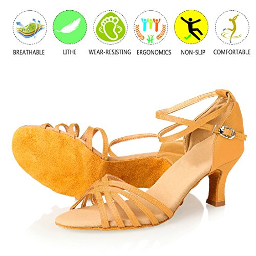 GetMine Frauen Professionelle Latin Dance Schuhe Satin Salsa Ballroom Hochzeit Tanzschuhe 2,4 '' Heel Champagner