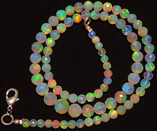 JP_Beads 1 Strand Natural Ethiopian Welo Opal Rare Faceted Round Ball Shape Beads 4 to 7MM Necklace 16