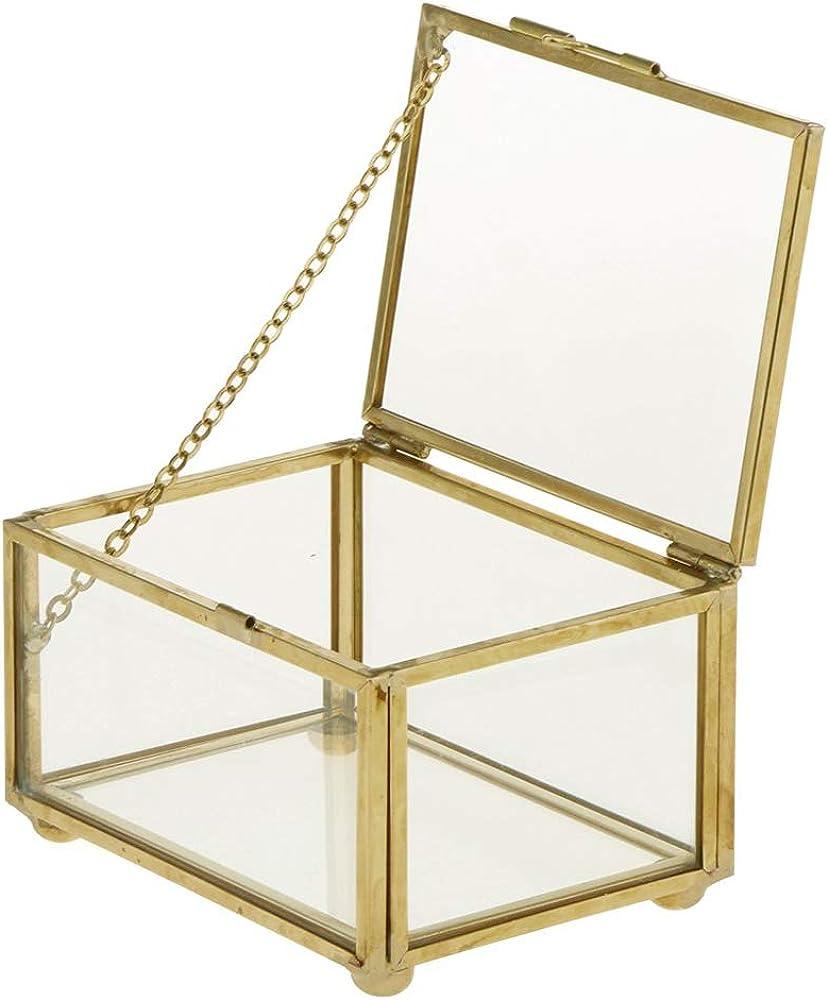 CAILI Caja Joyero,Caja de Joyas,Caja de Almacenamiento de Exhibición de Cristal Retro de la Joyería,Estuche Rectangular para Guardar Joyas,Pendientes,Anillos y Collares(10 x 7 x 6 cm)