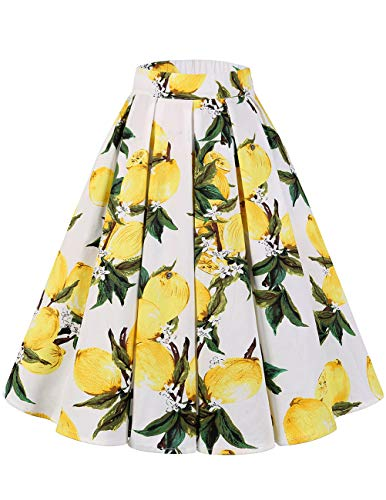 Bridesmay Women's Vintage Pleated Floral Printed A-line Swing Skirt with Pockets Lemon S