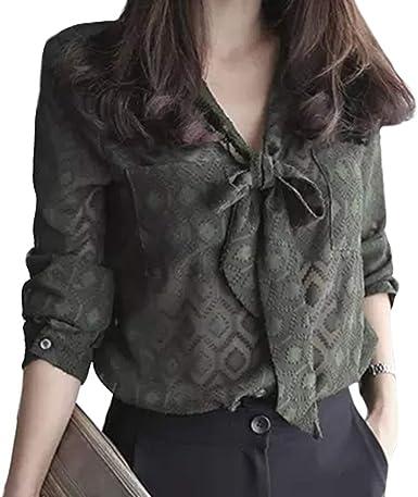 Camisa Elegante para Mujer Mangas Largas Y Cuello V Blusa Camisa De Gasa Camisa A Cuadros: Amazon.es: Ropa y accesorios