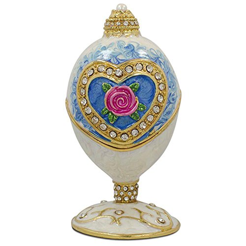 - BestPysanky Rose in Crystal Valentine's Heart Russian Royal Inspired Easter Egg 3.25 Inches