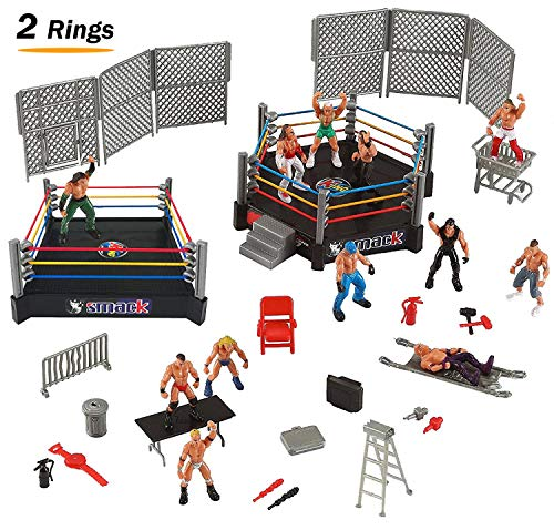 Liberty Imports 32-Piece Mini Wrestling Playset with Action Figures & Accessories | Kids Toy with Realistic Wrestlers | 2 Rings Included ()
