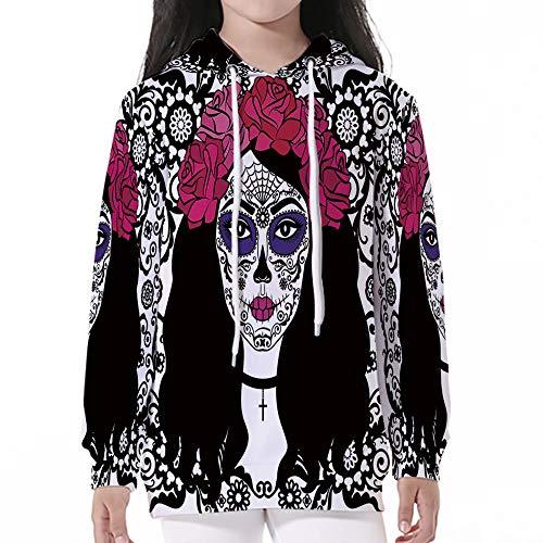 Kid Nation Kids' Sweater Long Sleeve,Sugar Skull Decor,Girl with Sugar Skull Mak -