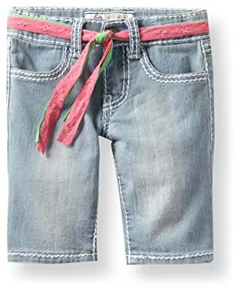 Southpole - Kids Little Girls' denim bermuda short with roll up printed graffiti cuffs and embroidered back pocket, Light Sand Blue, 5