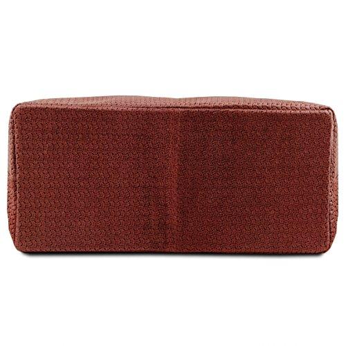 Tuscany Leather TL KeyLuck - Bolso shopping TL SMART en piel imprimida tejida - Tamaño grande - TL141568 (Marrón oscuro) Bordeaux