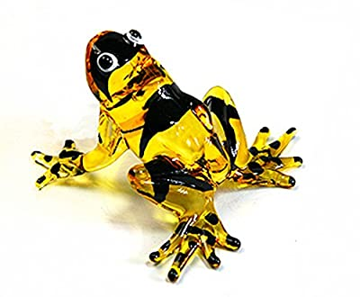 Lampwork COLLECTIBLE MINIATURE HAND BLOWN Art GLASS Sniper Frog, Yellow FIGURINE