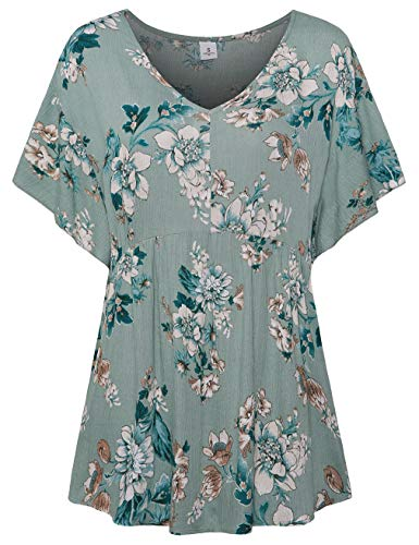 FANSIC Women Floral Print Tops,Casual Short Sleeve Empire Waist Babydoll V Neck Tunic Blouses Green Medium