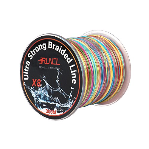 RUNCL Braided Fishing Line with 8 Strands, Fishing Line PE Material 328Yds/300M with multiple colors for Freshwater and Saltwater (328Yds/300M, 55LB(24.97kgs))