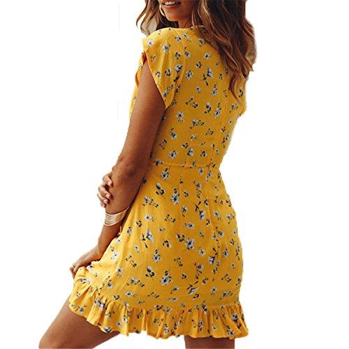 Mini Women's Dress Deep Neck Floral Party V ALAPUSA C Summer 08HqOw0d