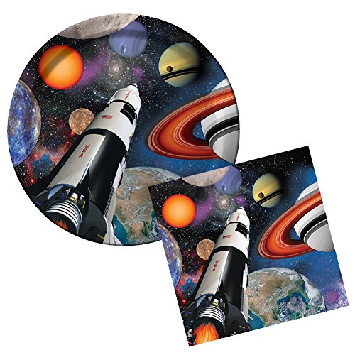 Space Blast Party Pack for 8 Guests - Dinner Plates and Luncheon Napkins