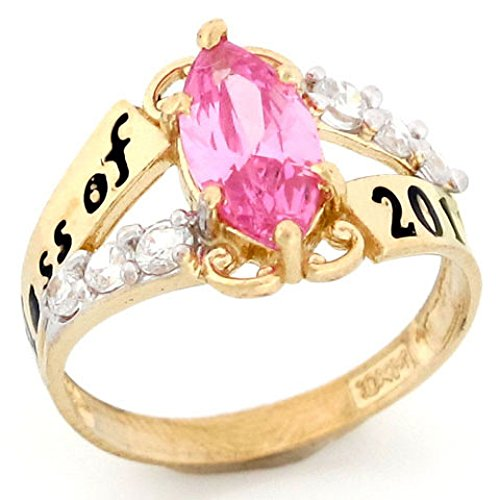 10k Gold Simulated Pink Tourmaline October Birthstone 2018 Class Graduation Ring October Birthstone Tourmaline