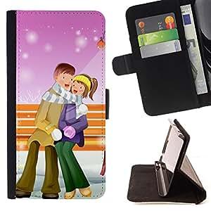 DEVIL CASE - FOR Samsung ALPHA G850 - Couple Warm Winter Love Romance Art Park - Style PU Leather Case Wallet Flip Stand Flap Closure Cover